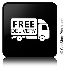 Free delivery truck icon black square button