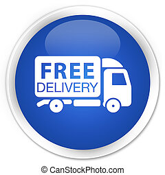 Free delivery truck icon blue glossy round button