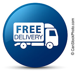 Free delivery truck icon blue round button
