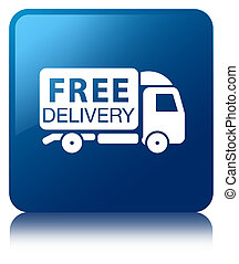 Free delivery truck icon blue square button