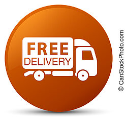 Free delivery truck icon brown round button