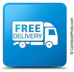Free delivery truck icon cyan blue square button