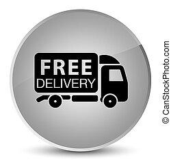 Free delivery truck icon elegant white round button