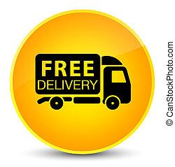 Free delivery truck icon elegant yellow round button