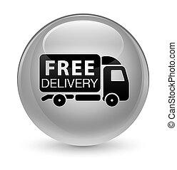 Free delivery truck icon glassy white round button