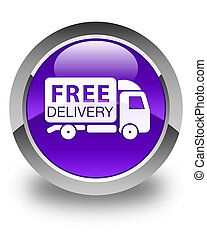 Free delivery truck icon glossy purple round button