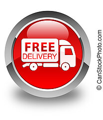 Free delivery truck icon glossy red round button