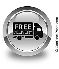 Free delivery truck icon glossy white round button