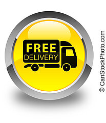 Free delivery truck icon glossy yellow round button