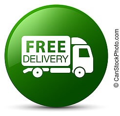 Free delivery truck icon green round button
