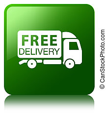 Free delivery truck icon green square button