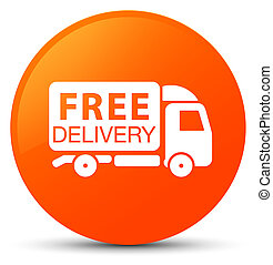 Free delivery truck icon orange round button