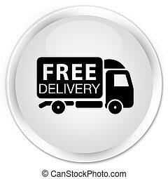 Free delivery truck icon premium white round button