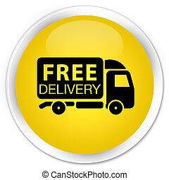 Free delivery truck icon premium yellow round button