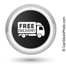 Free delivery truck icon prime black round button
