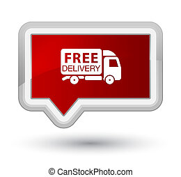 Free delivery truck icon prime red banner button