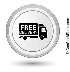Free delivery truck icon prime white round button