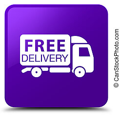 Free delivery truck icon purple square button