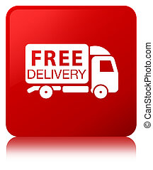 Free delivery truck icon red square button