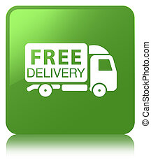 Free delivery truck icon soft green square button