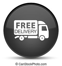 Free delivery truck icon special black round button