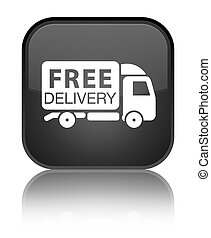 Free delivery truck icon special black square button