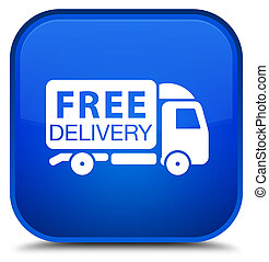 Free delivery truck icon special blue square button