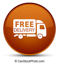 Free delivery truck icon special brown round button