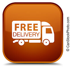 Free delivery truck icon special brown square button