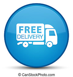 Free delivery truck icon special cyan blue round button