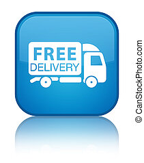 Free delivery truck icon special cyan blue square button