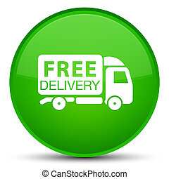 Free delivery truck icon special green round button