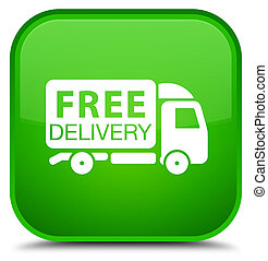 Free delivery truck icon special green square button