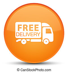 Free delivery truck icon special orange round button