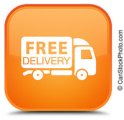 Free delivery truck icon special orange square button