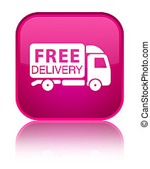 Free delivery truck icon special pink square button