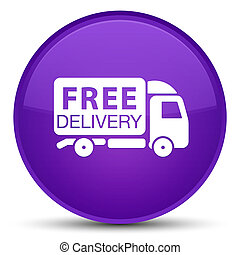 Free delivery truck icon special purple round button