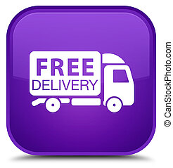 Free delivery truck icon special purple square button