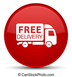 Free delivery truck icon special red round button