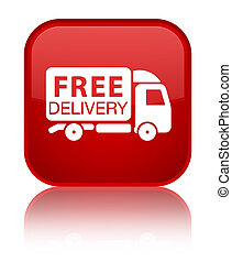 Free delivery truck icon special red square button