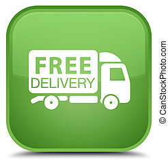 Free delivery truck icon special soft green square button