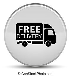 Free delivery truck icon special white round button