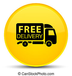Free delivery truck icon special yellow round button