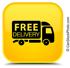 Free delivery truck icon special yellow square button