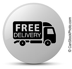 Free delivery truck icon white round button