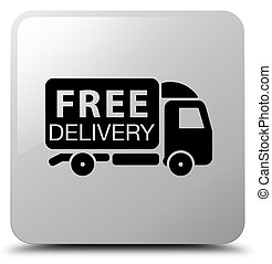 Free delivery truck icon white square button