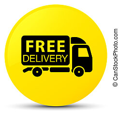 Free delivery truck icon yellow round button