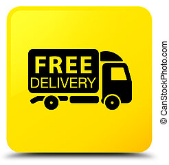 Free delivery truck icon yellow square button