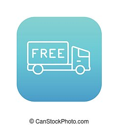 Free delivery truck line icon.