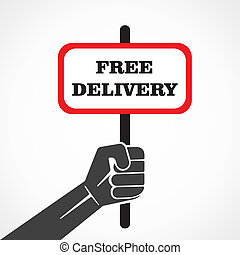 free delivery word banner hold in h